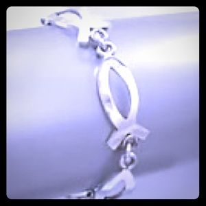 """STERLING Silver Cut out fish Chain 6"""" Toggle Clasp"""